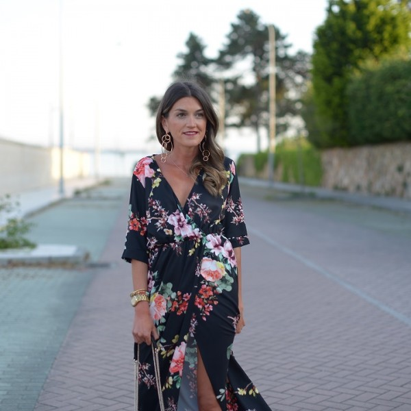 Black flower dress